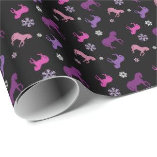 紫色およびピンクの子馬の冬の包装紙 ラッピングペーパー