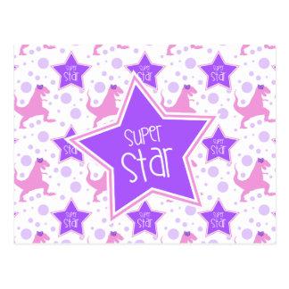 紫色およびピンクの極度の星の恐竜の郵便はがき ポストカード