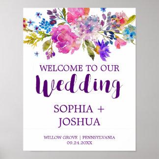 紫色およびピンクの水彩画によっては結婚式の歓迎が開花します ポスター