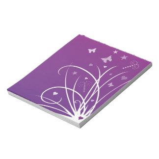 紫色およびピンクの蝶渦巻 ノートパッド