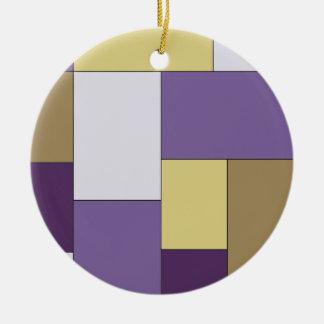 紫色およびブラウン色のブロック セラミックオーナメント