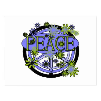紫色およびライムの平和 ポストカード