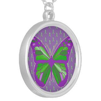 紫色およびライムグリーンのライム病の認識度 シルバープレートネックレス