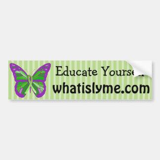 紫色およびライムグリーンの蝶ライム病 バンパーステッカー