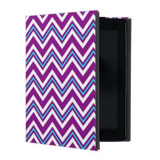 紫色および水のシェブロンのiPadの場合 iPad ケース