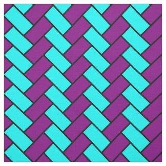 紫色および水のヘリンボン ファブリック