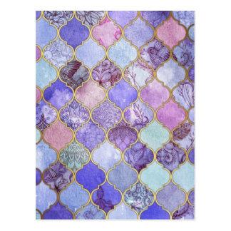 紫色および淡いブルーのモロッコのタイルパターン ポストカード