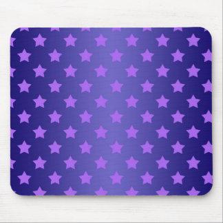 紫色および深い青の星パターン マウスパッド