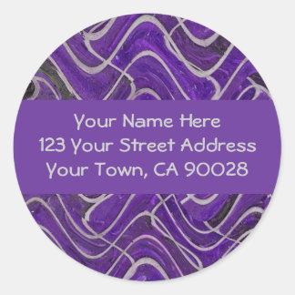 紫色および灰色の住所シール ラウンドシール