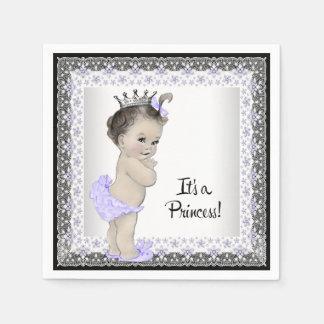 紫色および灰色の女の赤ちゃんのシャワー スタンダードカクテルナプキン