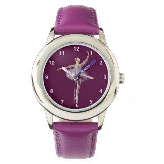 紫色および白いのバレリーナ 腕時計