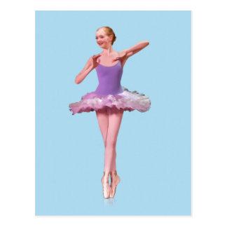 紫色および白いのポイントのバレリーナ ポストカード