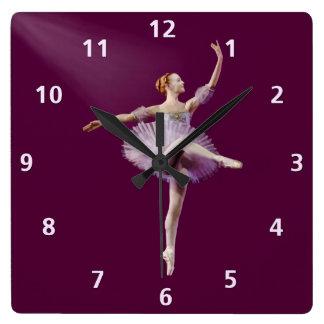 紫色および白いカスタマイズ可能のバレリーナ スクエア壁時計