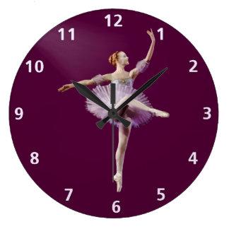 紫色および白いカスタマイズ可能のバレリーナ ラージ壁時計
