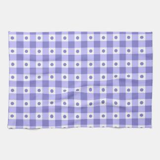 紫色および白いギンガムの点検のドット・パターン キッチンタオル