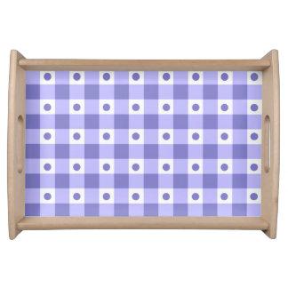 紫色および白いギンガムの点検のドット・パターン トレー