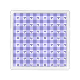 紫色および白いギンガムの点検のハートパターン アクリルトレー