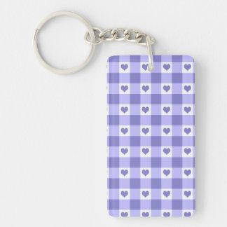 紫色および白いギンガムの点検のハートパターン キーホルダー