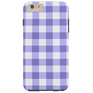 紫色および白いギンガムの点検パターン TOUGH iPhone 6 PLUS ケース