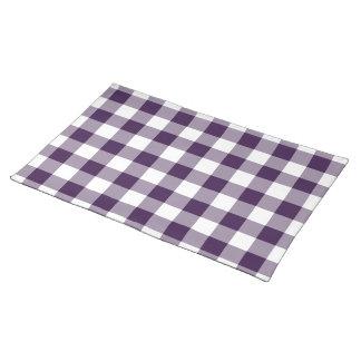紫色および白いギンガムパターン ランチョンマット