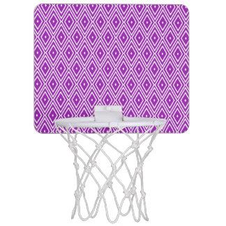 紫色および白いダイヤモンドパターン ミニバスケットボールゴール