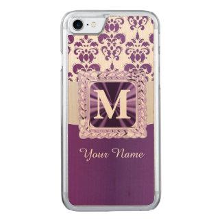 紫色および白いダマスク織のモノグラム CARVED iPhone 8/7 ケース