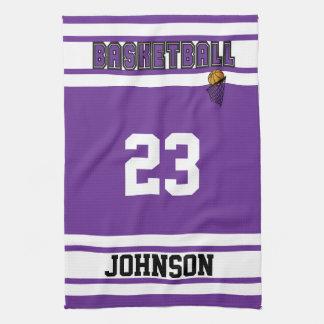 紫色および白いバスケットボールを個人化して下さい キッチンタオル