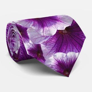 紫色および白いペチュニア オリジナルネクタイ