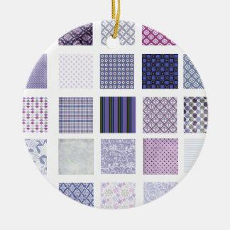 紫色および白いモザイク セラミックオーナメント