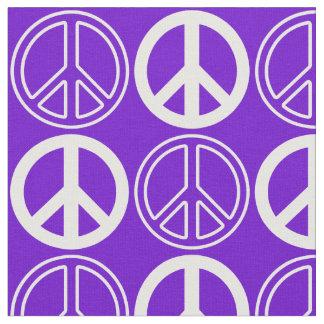 紫色および白いレトロのピースサインパターン ファブリック