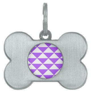紫色および白い三角形 ペットネームタグ
