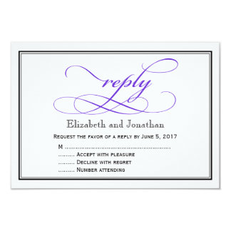 紫色および白い原稿の結婚式の応答カード カード