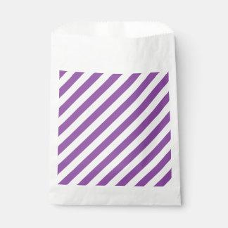 紫色および白い対角線のストライプなパターン フェイバーバッグ