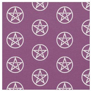 紫色および白い星形五角形の祭壇の布材料 ファブリック