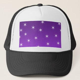 紫色および白い星、パターン キャップ