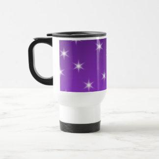 紫色および白い星、パターン トラベルマグ