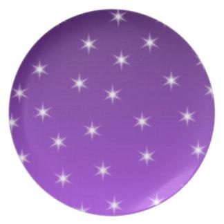 紫色および白い星、パターン プレート