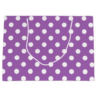 紫色および白い水玉模様パターン ラージペーパーバッグ