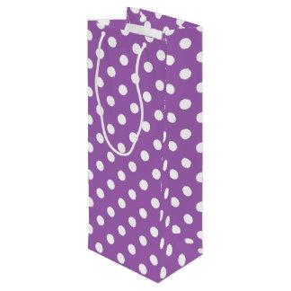 紫色および白い水玉模様パターン ワインギフトバッグ