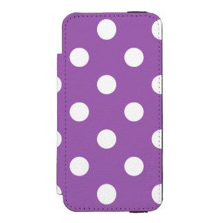 紫色および白い水玉模様パターン INCIPIO WATSON™ iPhone 5 ウォレット ケース