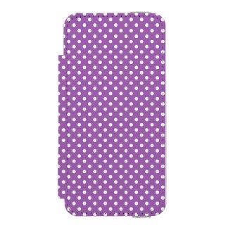 紫色および白い水玉模様パターン INCIPIO WATSON™ iPhone 5 財布 ケース