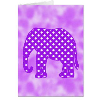 紫色および白い水玉模様象 カード