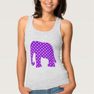 紫色および白い水玉模様象 タンクトップ