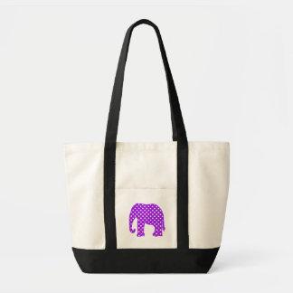 紫色および白い水玉模様象 トートバッグ