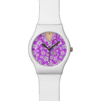 紫色および白い熱帯医学はごしごし洗います 腕時計