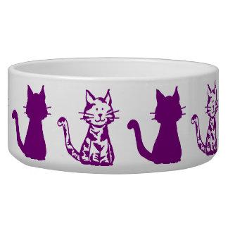 紫色および白い猫パターン大きいペットボウル