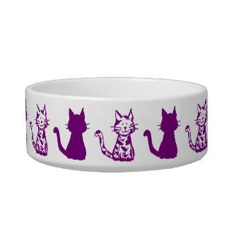 紫色および白い猫パターン小さいペットボウル ボウル