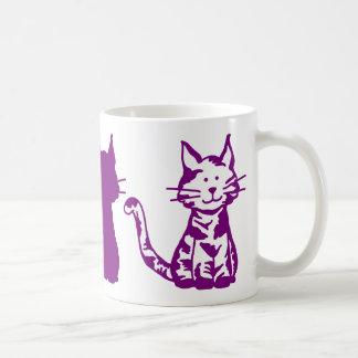 紫色および白い猫パターン コーヒーマグカップ