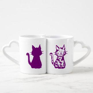 紫色および白い猫パターン ペアカップ