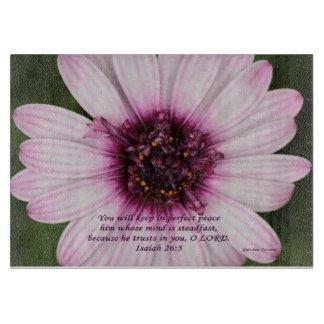 紫色および白い花のまな板 カッティングボード